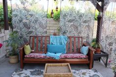 Thriftscored!  I bought this futon frame at The Goodwill - Anaheim and am repurposing it into an outdoor couch for the outdoor space I am creating entirely from items purchased at thrift/consignment stores, repurposing items from my home and occasionally purchasing something on super sale.  This is a work in progress, but so far everything in this pic has been thriftscored.  I've spent about fifty dollars so far!