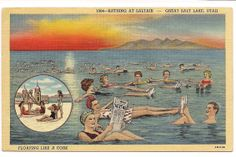 Great Salt Lake Utah. Floating like a cork! Postcard