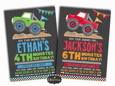 Welcome to Busy bees Happenings! Celebrate your monster birthday with these monster truck invitations! Invites can come in either color combo (red & orange or green & blue) and as a single or double birthday party. Please note this is a digital listing, with two options- 1.