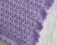 """Soft and Cozy Baby Afghan in """"Lavender"""", Lavender Crochet Baby Afghan, Crochet Baby Blanket, Valentine Gift for Baby"""