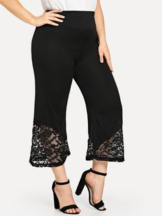 Plus Lace Panel Hem Pants Black Blouse, Black Pants, Dress Pants, Pant Jumpsuit, Trousers, How To Hem Pants, Plus Size Pants, Fancy Pants, Fashion News