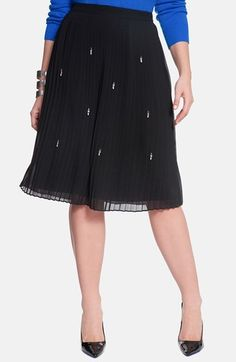 ELOQUII Embellished Pleat Skirt #plussize