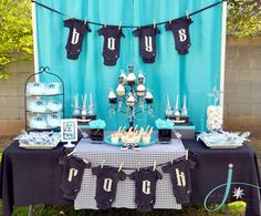 Rock a Bye Baby Shower dessert table https://www.retailpackaging.com/categories/74-everyday-specialty-ribbon #cute #DIY #décor