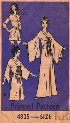 $25. Anne Adams 4825 (1950's) Misses band trimmed Japanese kimono robe in 3 lengths has V-neckline, dropped shoulders, contrast sleeve lining. Size: Medium (12-14) Bust: 34 - 36. See line drawings for furisode (long with armpit slit sleeves worn by unwed women.