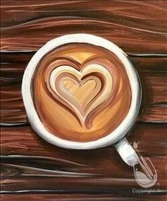 Coffee Painting Canvas, Heart Painting, Canvas Paintings, Food Painting, House Painting, Kitchen Canvas Art, Kitchen Art, Wood Canvas, Diy Canvas Art