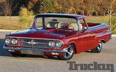 Garage-builder Dale Dapson brought this 1960 Chevy El Camino back from the dead. Check out the transformation in this web exclusive in Truckin Magazine. Old Classic Cars, Classic Trucks, Chevrolet Trucks, Chevrolet Impala, Chevrolet Sedan, 1957 Chevrolet, Old School Cars, Classic Chevrolet, Us Cars
