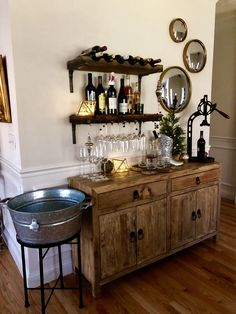 Home Remodeling Decor - Hang our Vigneto Bar Shelving individually or together on or any combination to create a wall of storage and display. Each shelf is hand crafted of distressed mango wood. Brackets are Home Wine Bar, Diy Home Bar, Home Bar Decor, Diy Bar, In Home Bar Ideas, Bar Cart Decor, Wine And Coffee Bar, Coffee Bar Home, Coffee Coffee