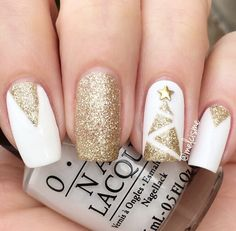 Gold and white winter nail art design perfect for new year eve