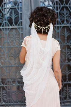 Gossamer Tulle Drape Veil simple bohemian veil, elegant modern contemporary floor length veil modern boho bride, crinkle tulle crushed tulle veil
