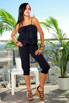black ruffle cropped jumpsuit