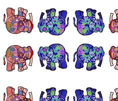 red_and_blue_elephants_for_plushie fabric by vinkeli on Spoonflower - custom fabric Spoonflower Fabric, Plushies, Jewelry Supplies, Custom Fabric, Elephants, Creative Business, Red And Blue, Craft Projects, Card Making