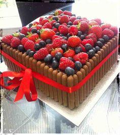 Fruit topped cake cake Pinterest Cake Fruit cakes and Recipes
