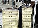 These dressers are Henry Link, French Provincial, circa 1960's. I found them curb side in my subdivision.