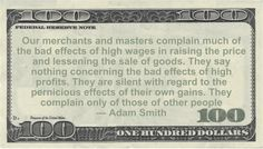 Adam Smith Money Quote saying retailers complain of the high cost of wages but never of profits