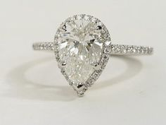 Pear Shaped Halo Diamond Engagement Ring in Platinum | #BlueNile #Engagement #Ring