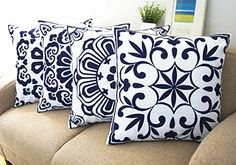 Floral Blue and White Howarmer Cotton Canvas Decorative Throw Pillows Cover Set of 4 Accent Pattern Navy Bllue 18x18inch ** This is an Amazon Affiliate link. See this great product.
