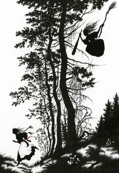 She threw her comb – and there grew up a deep and terrifying forest; Baba Yaga - Myths and Legends of Russia by Aleksandr Afana'ev, 2009