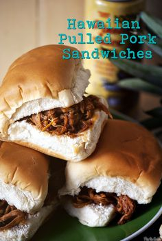 Hawaiian Pulled Pork Sandwiches - served these at my son's graduation luau party on Hawaiian rolls. Pork Recipes, Crockpot Recipes, Cooking Recipes, Recipies, Hawaiian Luau Party, Hawaiian Rolls, Hawaiin Party Food, Hawaiian Theme Food, Hawaiian Sandwiches