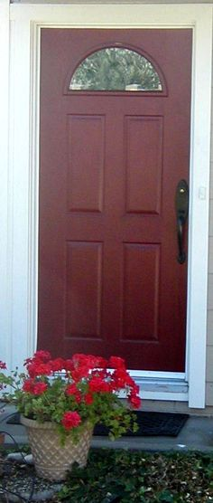 Dark Red Front Door 30 gorgeous painted front doors | orange brick houses, front doors