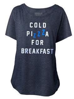 "Women's ""Cold Pizza For Breakfast"" Dolman Tee by Pyknic (Heather Grey)"