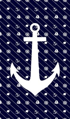 Anchor on a background of nautical icons