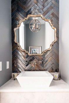Artistic Tile I Backsplash: 'Kyoto' ceramic tile in 'Steel' metallic glaze for a bathroom wall: