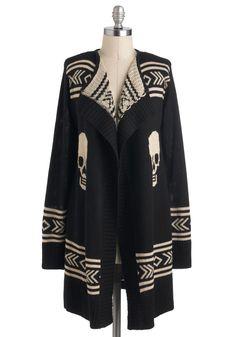 Skull Spirit Cardigan | Mod Retro Vintage Sweaters | ModCloth.com Thought of you, @Rachel Collins!