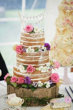 Naked cake, lots of pink and purple accents.