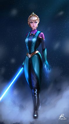 Jedi Elsa.  Character belongs to Disney. Had a lot of fun with this one - This one is a collab between art friends - I'll create a wallpaper version of all our starwars!Disney princesses once...