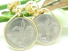 Israel 1 New Sheqel Coin Earrings 14kt Gold Filled   dianesdangles - Jewelry on ArtFire #bmecountdown