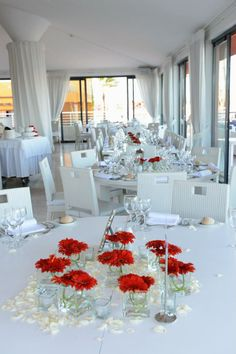 Red centrepiece table decoration in Tivoli Marina Portimão by Algarve Wedding Planners Red Wedding, Luxury Wedding, Wedding Reception Decorations, Table Decorations, Wedding Ideas, Algarve, Wedding Planner, Inspiration, Furniture