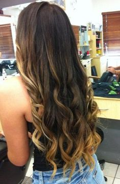 long curly hair with color