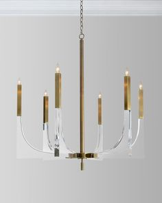 Shop Acrylic Brass Finish Chandelier, 6 Lights from John-Richard Collection at Horchow, where you'll find new lower shipping on hundreds of home furnishings and gifts. Acrylic Chandelier, Chandelier Bedroom, Kitchen Chandelier, Brass Chandelier, Chandelier Lighting, Iron Chandeliers, Teen Room Decor, Neiman Marcus, It Is Finished