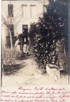 BL757 Carte Photo vintage card RPPC Femme jardin maison environ Nantes