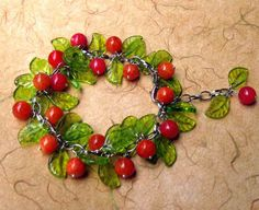 Aunt Naomi in Miami charm bracelet pressed glass by MoiraCoon, $30.00