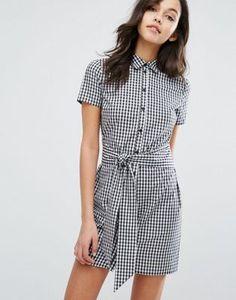Miss Selfridge | Miss Selfridge Gingham Tie Front Shirt Dress