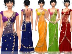 Saree embellished. 4 different colors. New item. Custom mesh by me.  Found in TSR Category 'Sims 4 Female Everyday'