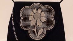 Luxury Evening Bag with handmade Maltese lace motif in metallic silver thread.