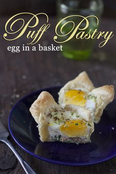 Puff pastry egg in a basket makes a fast and easy brunch and handy grab and go breakfast. From EatingRichly.com