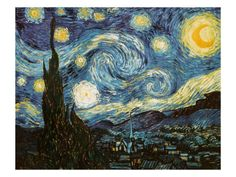 """Starry Night by Vincent Van Gogh. He only sold one painting in his life. While institutionalized, Van Gogh created """"Starry Night,"""" his most famous painting, completely from memory. It now hangs in the permanent collection in NYC MOMA Vincent Van Gogh, Gogh The Starry Night, Stary Night Van Gogh, Starry Night Tattoo, Starry Nights, Van Gogh Pinturas, Art Sur Toile, Van Gogh Art, Museum Of Modern Art"""