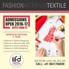 Admission open for Fashion Designing Courses.  Limited seats available.  For Admission in IIFD, Contact @ 9041766699 http://indianfashioninstitute.com/best-fashion-designing-courses-in-chandigarh/