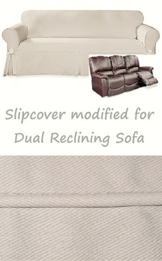 Reclining SOFA Slipcover Farmhouse Twill Cream Adapted For Dual Recliner  Couch
