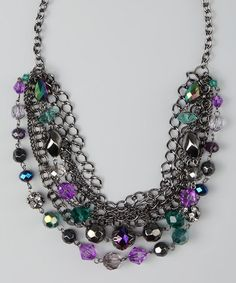 Take a look at this All The Rage Purple & Blue Bead & Chain Necklace by All The Rage & Top It Off on #zulily today!
