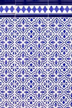 decoro mattonelle blu