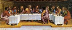 Luca Signorelli (1450–1523) : la dernière Cène. Prédelle du grand retable de l'église Sainte-Marguerite de Cortone. 1502. Tempera sur bois. Cortone, Musée diocésain.