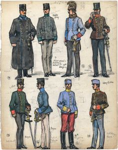 """9. Lieutenant, German Infantry Regiment No. 40; 10. Official, Pionierzeugesen (Engineers' Park); 11. Officer, 14th Dragoons; 12. Lieutenant, Artillery; 13. Military Intendant (civilian official); 14. Second Lieutenant, German Infantry Regiment No. 40; 15. Trooper, 12th Dragoons; 16. Artillery NCO. Extract from: AE Haswell Miller & John Mollo. """"Vanished Armies."""""""