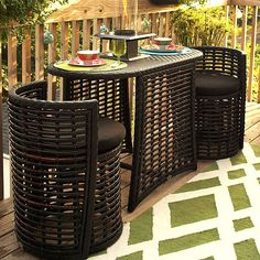 This storage-savvy patio furniture tucks into a buffet tablet for extra patio space! More outdoor storage solutions: http://www.bhg.com/home-improvement/porch/outdoor-rooms/outdoor-storage-solutions/?socsrc=bhgpin041313tuckinpatiofurniture=10