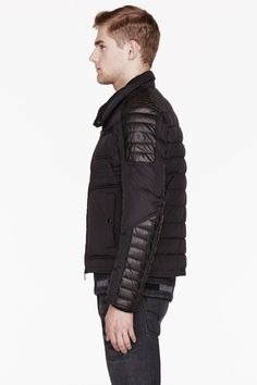 MONCLER Black Quilted leather-trimmed DIMITRI jacket