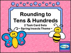 Rounding Numbers Task Cards - Tens and Hundreds - 64 Cards ($)