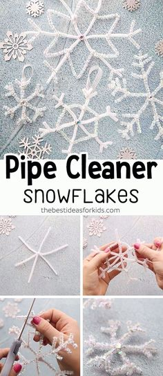 pipe cleaner Christmas Crafts Pipe Cleaner Snowflakes Christmas Ornaments - these pipe cleaner snowflakes are so easy to make and they are so pretty! An easy Christmas craft for kids to make. Diy Christmas Snowflakes, Simple Christmas, Christmas Diy, Snowflake Ornaments, Easy Diy Crafts, Diy Crafts For Kids, Easy Crafts, Kids Diy, Craft Ideas